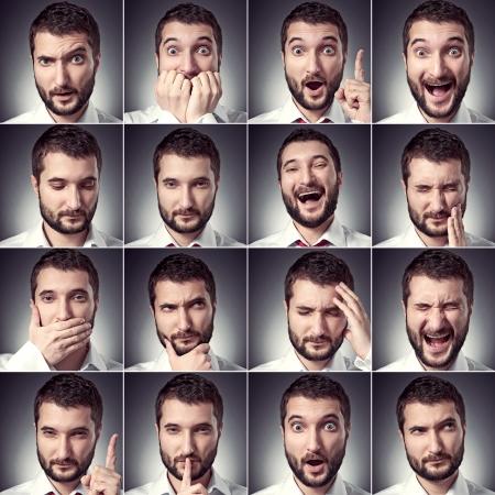 emotion faces: set of handsome emotional man over dark background