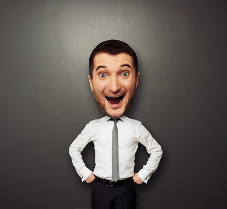businessman have the big head and very happy Stock Photo - 19377925