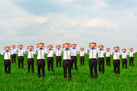 business rival: throng of businessmen holding big smiles Stock Photo