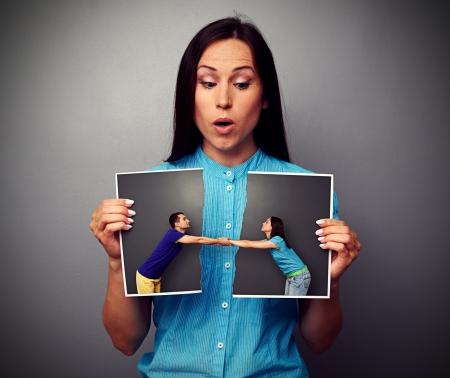 verbaasd vrouw kijken verstoren foto