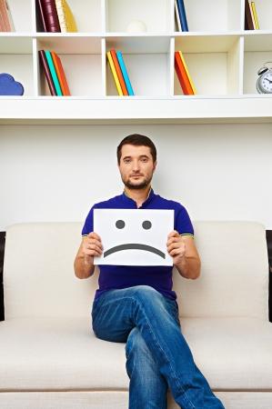 young man have a bad mood photo