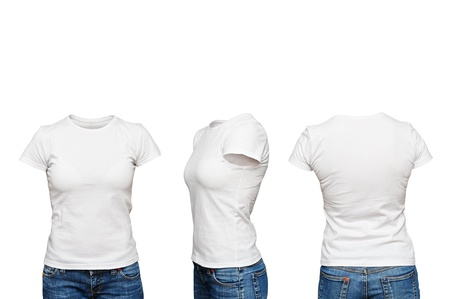 front side: mannequin in blank white t-shirt isolated Stock Photo
