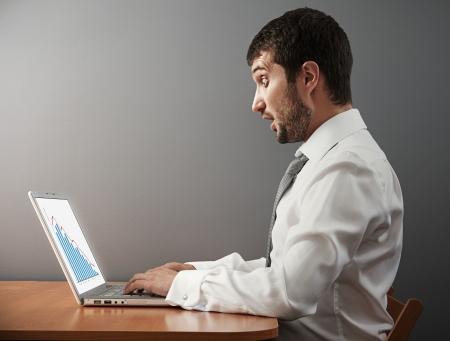 slump: shocked businessman looking at graph