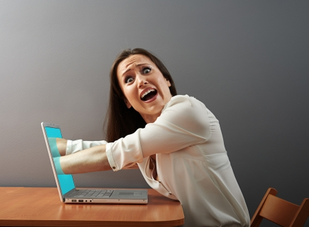 suck: internet absorbing shocked young woman