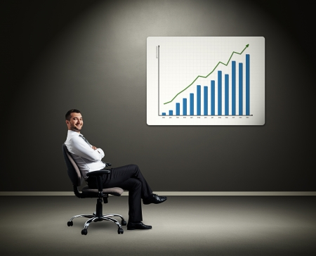 dynamic growth: successful boss sitting on chair against board with diagram Stock Photo