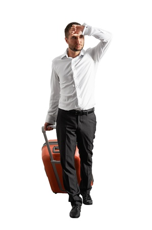 fatigued: fatigued businessman with suitcase. isolated on white background Stock Photo