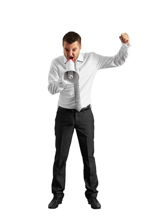 malice: mad businessman looking down and screaming. isolated on white background
