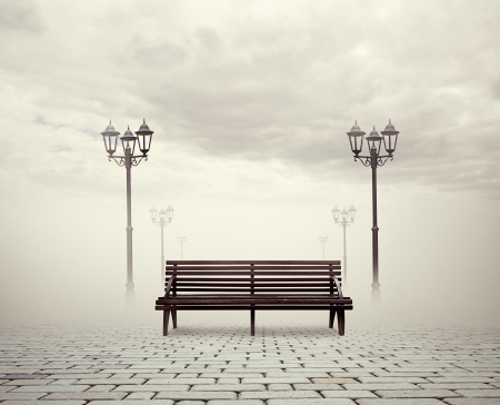 street lamps: view of bench and street lamps Stock Photo