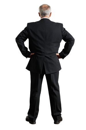 back view of grey-haired businessman. isolated on white background photo