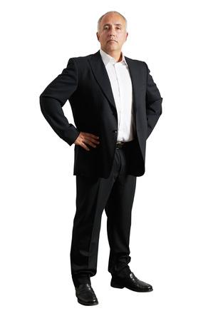 earnest: Hombre de negocios serio sobre el fondo blanco Foto de archivo