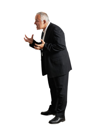 full-length photo of angry businessman over white background photo