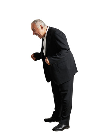 man businessman shouting and looking down. isolated on white background photo