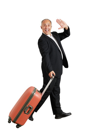 happy businessman waving hand and smiling. isolated on white background photo