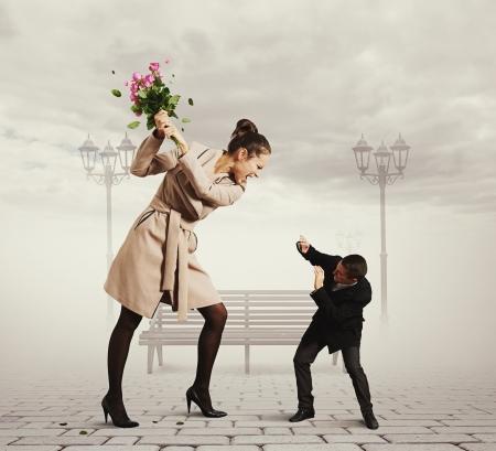 concept foto van ruzie tussen de man en de vrouw Stockfoto