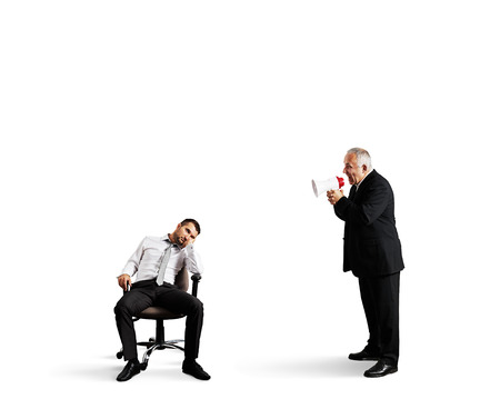 lazybones: angry boss screaming at lazy worker. isolated on white background