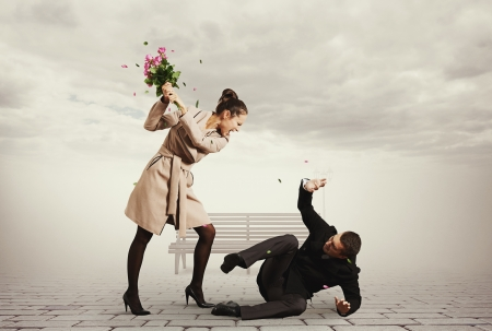 couple fight: concept photo of quarrel between young man and beautiful woman Stock Photo