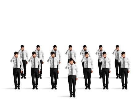 emotional stress: depressed crowd of businessmen isolated on white background Stock Photo
