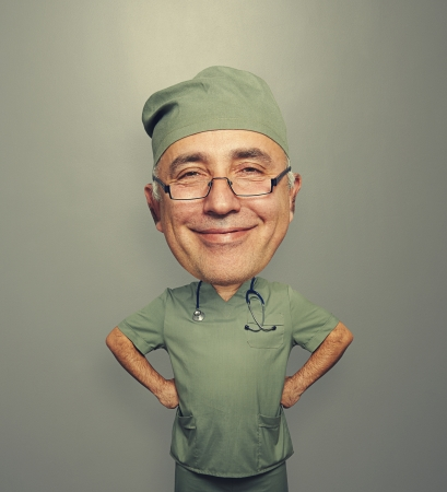 satisfied: funny picture of bighead satisfied doctor in glasses over dark background
