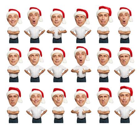 older woman smiling: collage of funny bighead senior men in santa hat over white background