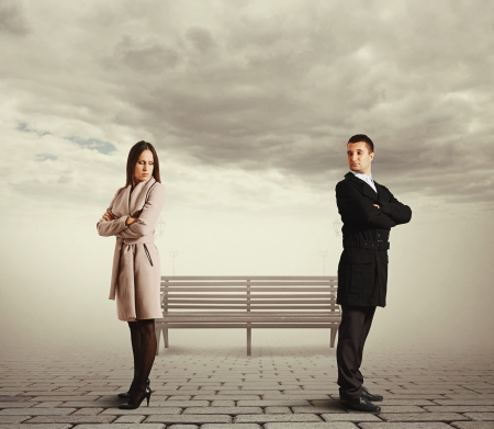 bedroefd paar in ruzie Stockfoto