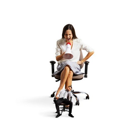 cheerless: businesswoman screaming at tired small businessman over white background