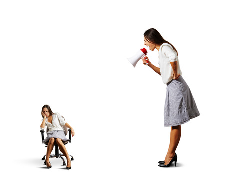 cheerless: big angry businesswoman screaming at lazy woman over white background