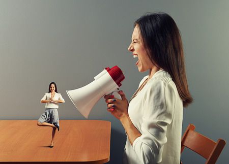 hysterics: emotional businesswoman shouting at small calm woman