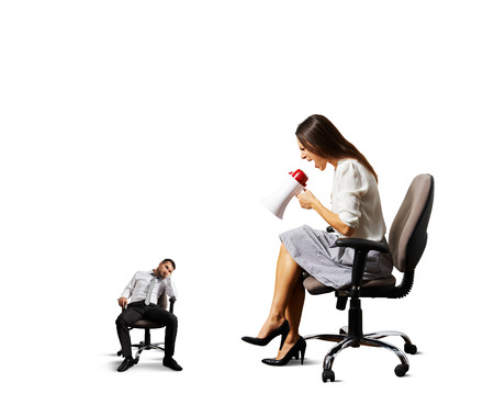 cheerless: angry woman screaming at small lazy man. isolated on white  Stock Photo