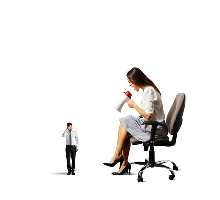 humiliation: dissatisfied woman screaming at small tired man. isolated on white