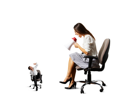 humiliation: big angry woman shouting at small stressed man. isolated on white
