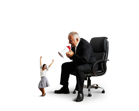 glad: glad woman and angry screaming man. isolated on white background