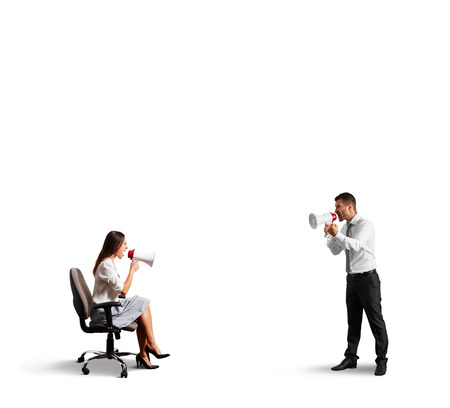 discontented: quarrel between discontented man and angry woman. isolated on white background