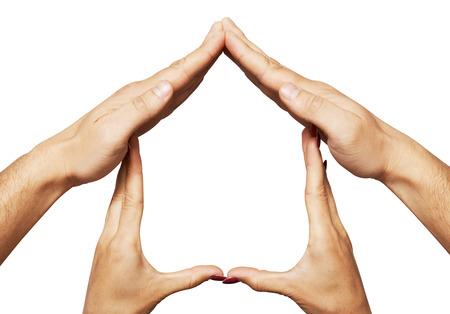 familia unida: Símbolo de inicio de la mano. aislado más de fondo blanco