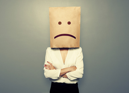 negativity: businesswoman have a bad mood