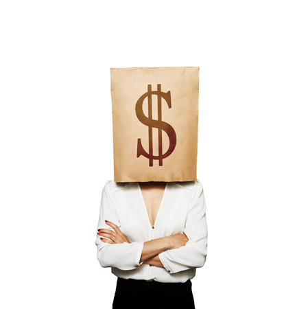 businesswoman with paper bag on her head. isolated on white background photo