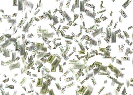 money rain: dollar note falling down over white background