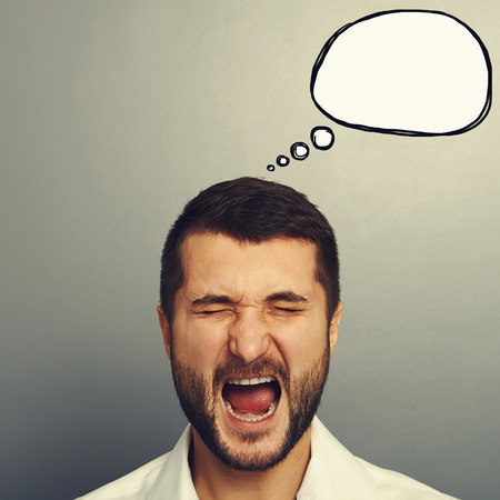 bellow: portrait of screaming man with empty speech bubble over grey background