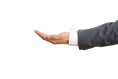 open palm gesture of businessman hand. isolated on white background photo