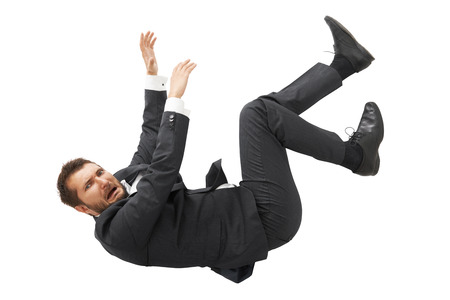 scared businessman falling down and screaming. isolated on white background