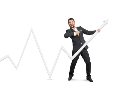 excited businessman pointing at white pointer. isolated on white background photo