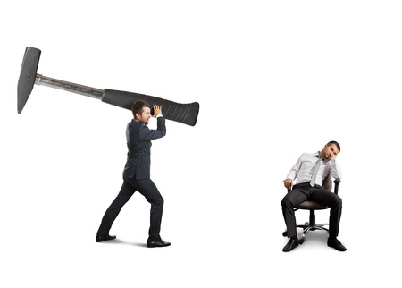 tedious: angry boss holding big hammer and screaming at lazy worker. isolated on white background Stock Photo