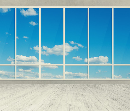 empty office: modern office with big windows Stock Photo