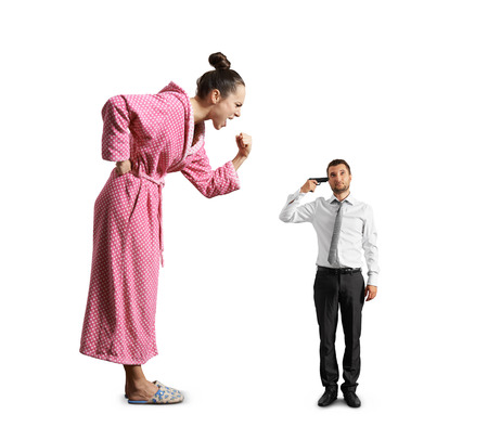discontented: big angry woman screaming at small tired man with gun. isolated on white background