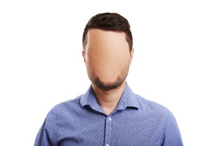Photo Concept d'affaires avec le visage blanc. isolé sur fond blanc