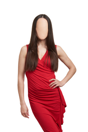 sexy woman in red dress without face. isolated on white background photo