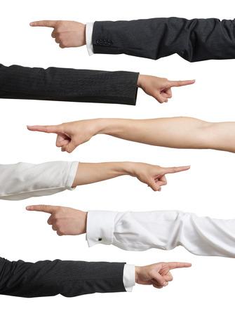 dedo indice: conjunto de diferentes mans y womans manos apuntando en ropa formal. aislado en fondo blanco