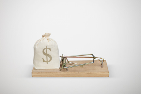 avidity: bag with money in wooden mousetrap over light grey background