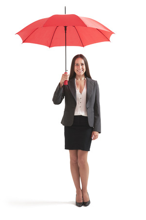 smiley: full-length portrait of smiley businesswoman under red umbrella. isolated on white background Stock Photo