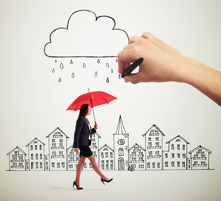 smiley woman with red umbrella walking under drawing storm cloud in the drawing city Stock Photo