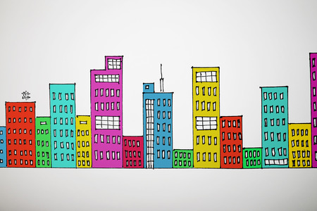 variegated: many-coloured drawing cityscape on grey background Stock Photo